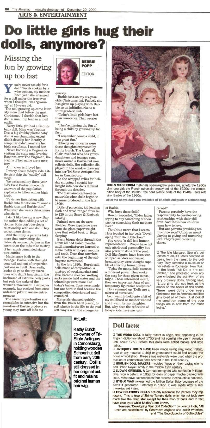 Doll Article in the Almanac, December 20, 2000